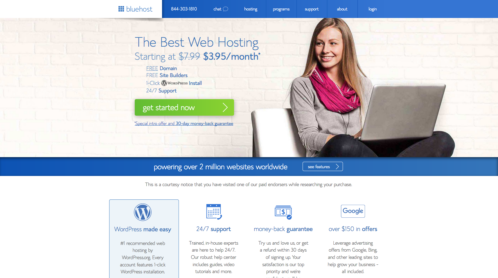 Screenshot of Bluehost Welcome Page