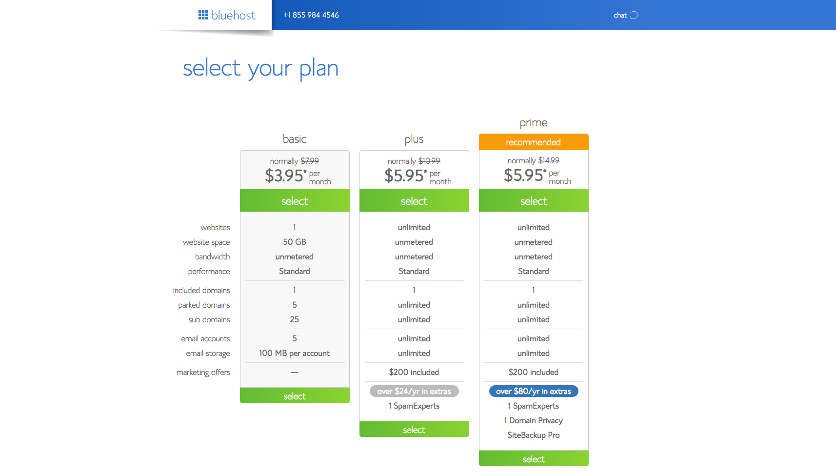 Screenshot of Choose a Package Plan Page