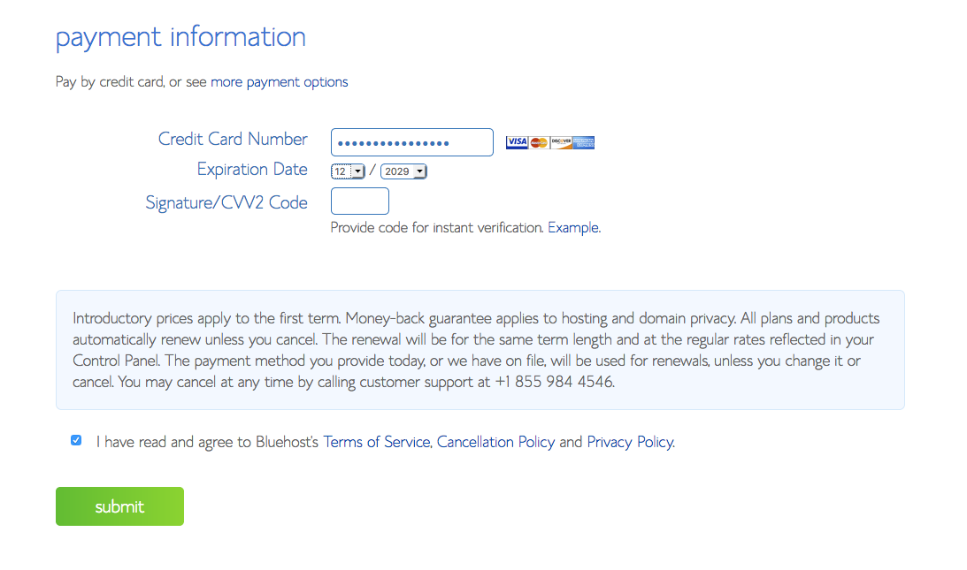 Screenshot of Bluehost Account Payment Page