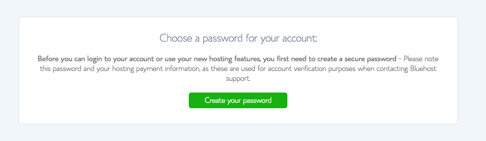 Screenshot of Bluehost Account Password Create Page