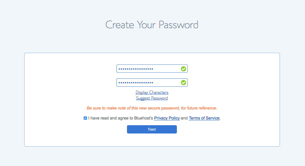 Screenshot of Bluehost Password Create Page