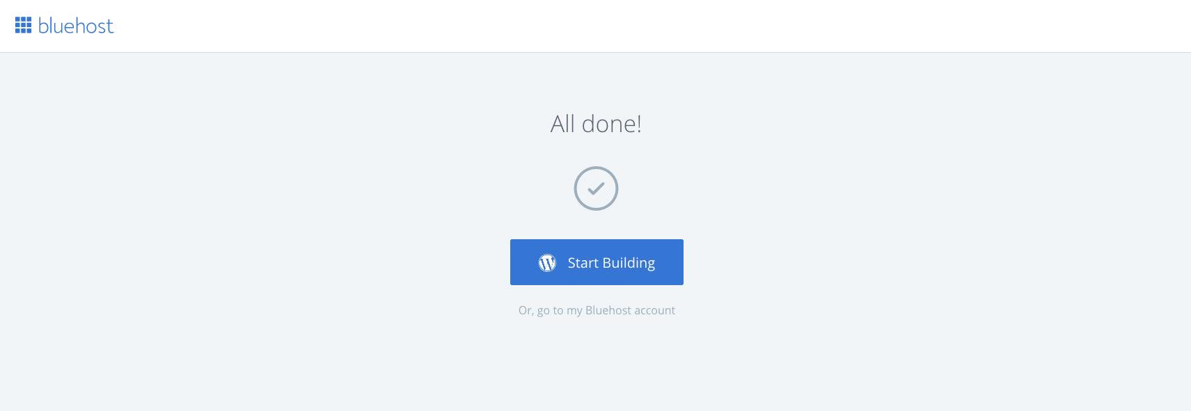 Screenshot of WordPress Confirmation Page