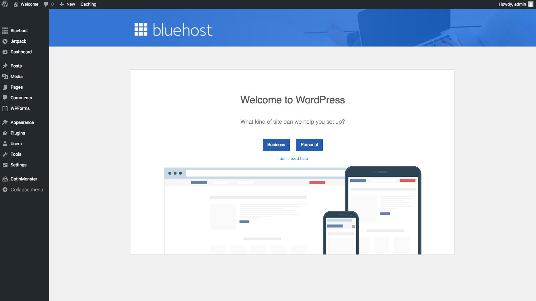Screenshot of WordPress Welcome Page